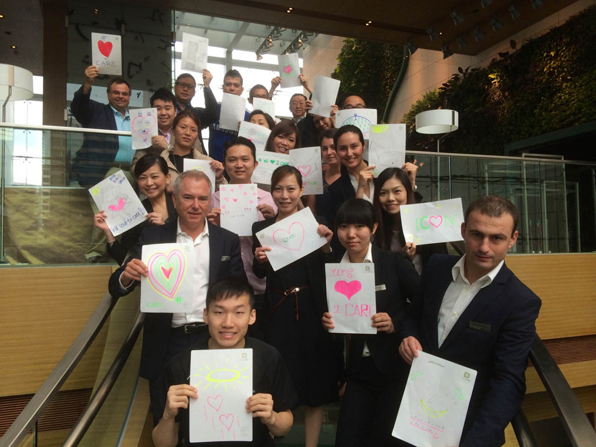 Dimitrios Buhalis Richard Hatter and Hotel Icon Hong Kong team - we love to care we care to love