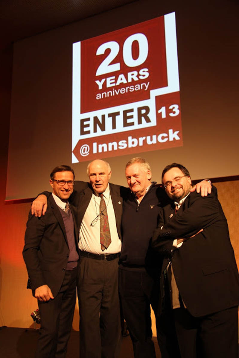 Dimitrios Buhalis with the IFITT Presidents Hannes Werthner, Josef Margreiter, Andrew Frew,
