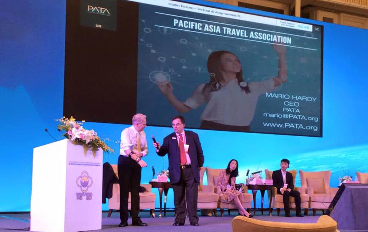 Dimitrios Buhalis with the Pacific Asia Travel Association PATA CEO Dr Mario Hardy