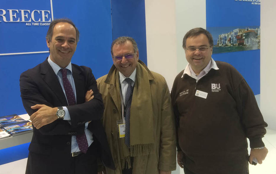 Dimitrios Buhalis with Carlos Costa University of Aveiro and Noel Josephides ABTA President and Sunvil CEO