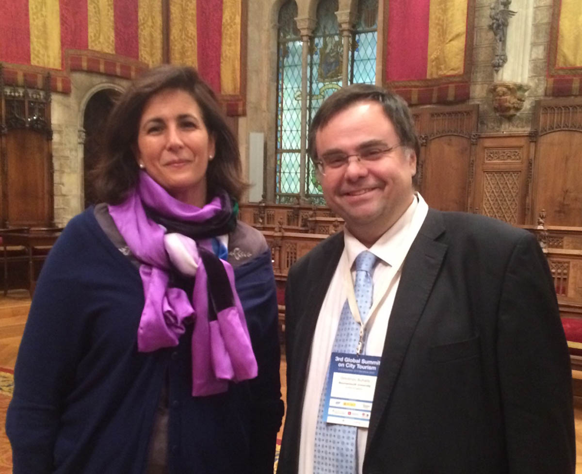 Dimitrios Buhalis with Isabel Borrego Cortes Minister of Tourism Spain