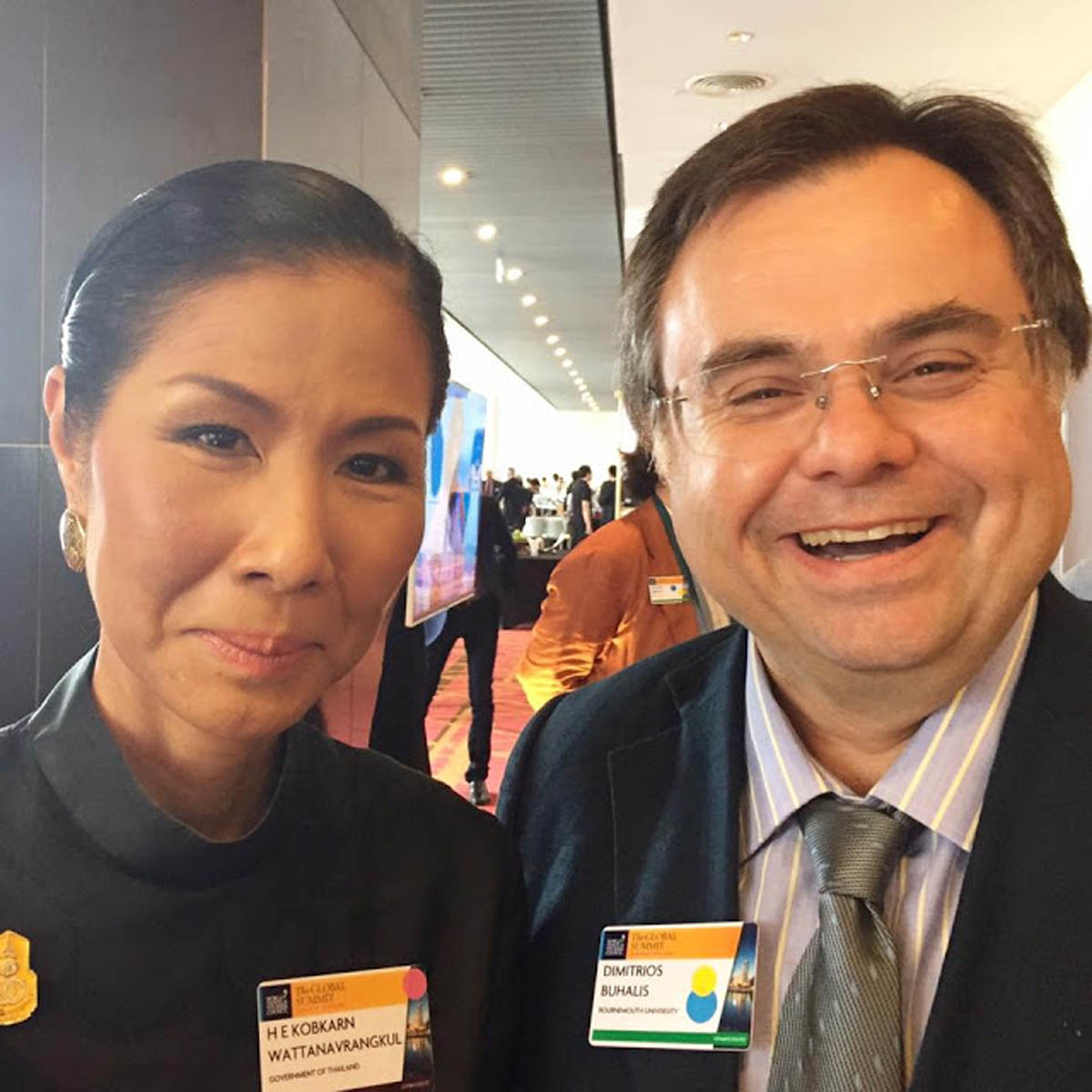 Dimitrios Buhalis with HE Kobkarn Wattanavrangkul Minister of Tourism for Thailand